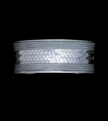 Handmade Woven Design Silver Cuff