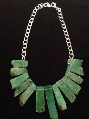 Green Agate & Silver Plated Statement Necklace