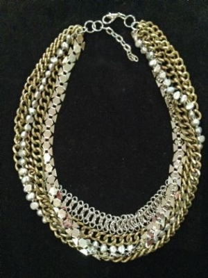 Brass. Steel & Freshwater Pearl Statement Necklace