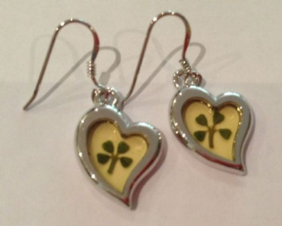 Four Leaf Clover Perspex Heart Earrings