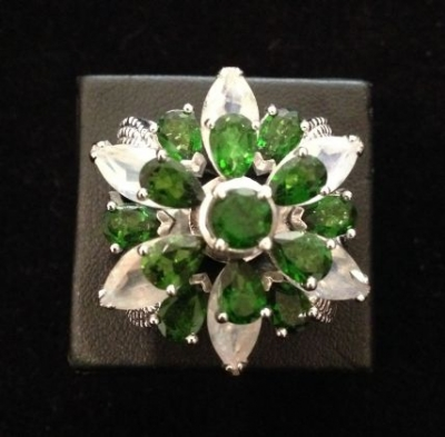 Chrome Diopside & Moonstsone Ring