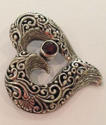 Heart Side Set Garnet Silver Pendant