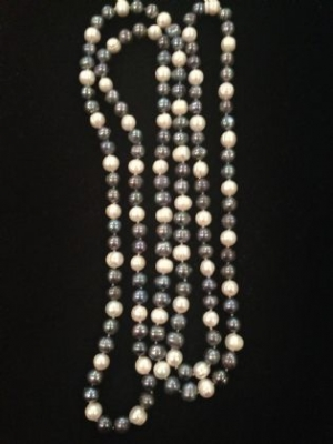 Grey & White Lustrous Long Freshwater Pearl Necklace
